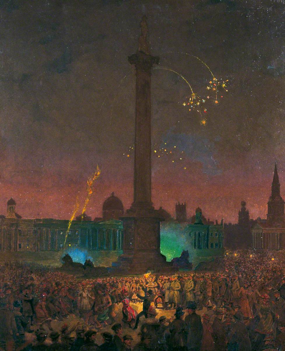 Carline, George F., 1855-1920; Armistice Night, Trafalgar Square