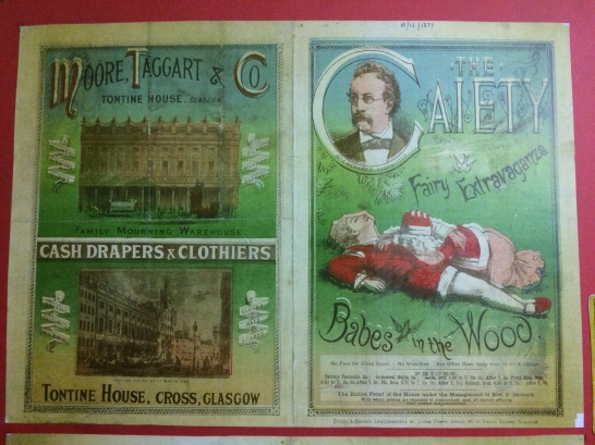 Bill for a panto at the Gaiety on display in the Britannia Panopticon